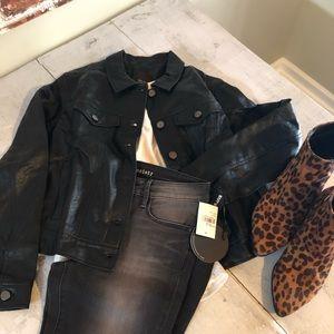 NWT Free Press Faux Leather Trucker Jacket